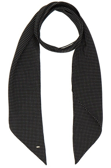 Saint Laurent Polka Dot Print Crepe Scarf in Black & Ivory