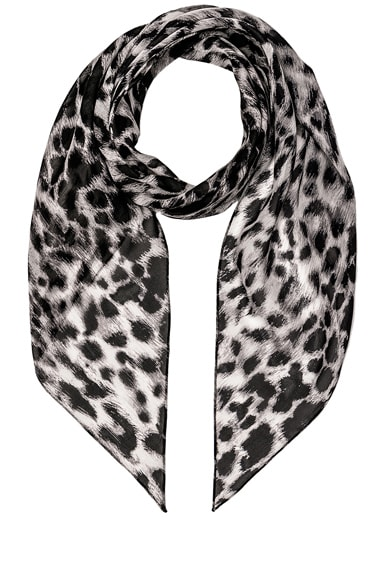Saint Laurent Silk Animalier Scarf in Grey & Black