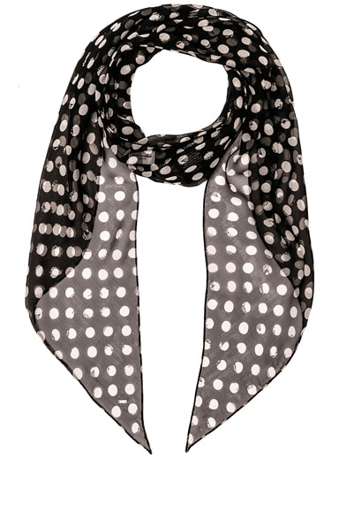 Saint Laurent Silk Polka Dot Scarf in Black & White