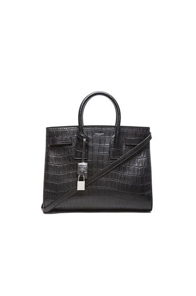 Small Sac De Jour Croc Embossed Carryall Bag