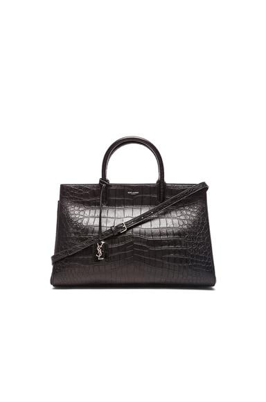 Saint Laurent Medium Monogram Croc Embossed Cabas Bag in Black