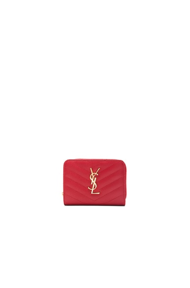 Saint Laurent Monogram Compact Zip Around Wallet in New Red