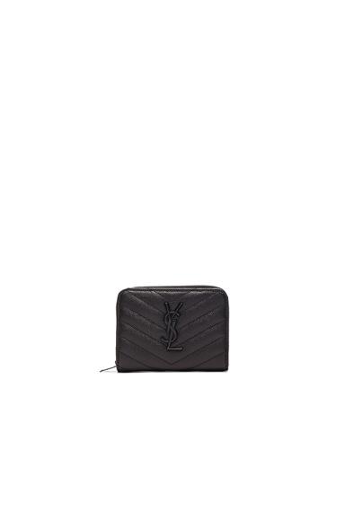 Saint Laurent Monogramme Compact Zip Wallet in Black