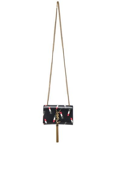 Saint Laurent Small Lipstick Print Chain Bag in Black, Red & White