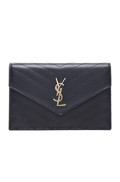 Saint Laurent Monogramme Chain Wallet in Black