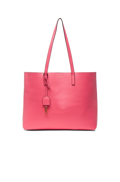 Saint Laurent Large Shiny Trim Shopping Bag in Rose Clair & Black