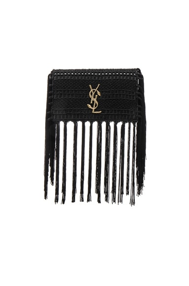 Saint Laurent Small Monogramme Crochet Serpent Clutch in Black
