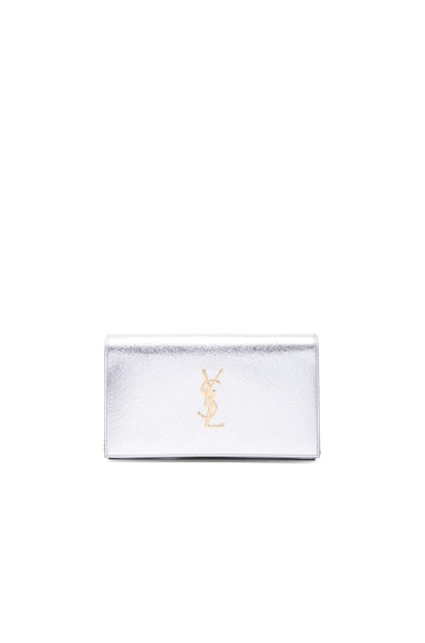 Saint Laurent Monogramme Chain Wallet in Platinum & Black