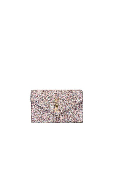 Saint Laurent Monogramme Glitter Envelope Chain Wallet in Multi & Black