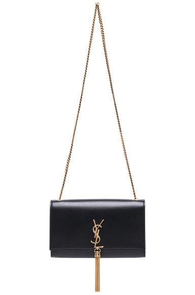 Saint Laurent Medium Monogramme Chain Tassel Bag in Black