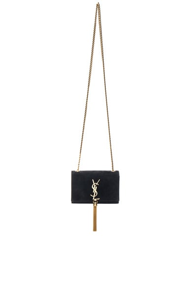 Saint Laurent Small Monogramme Suede Chain Tassel Bag in Black