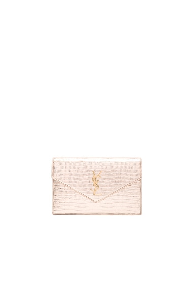 Saint Laurent Monogramme Mock Lizard Envelope Chain Wallet in Pale Gold & Black