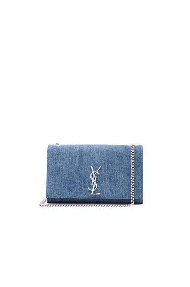 Saint Laurent Medium Denim Mongramme Chain Bag in Dirty Light Blue & Black