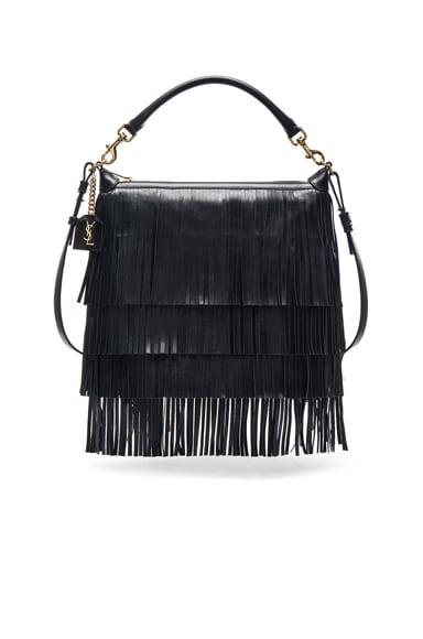 Saint Laurent Medium Fringe Emmanuelle Hobo Bag in Black