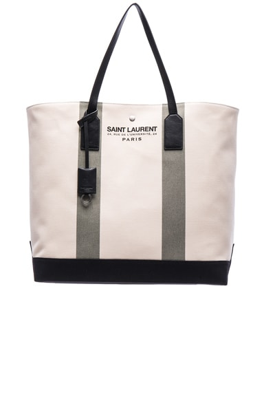 Saint Laurent Beach Shopping Bag in Beige & Khaki