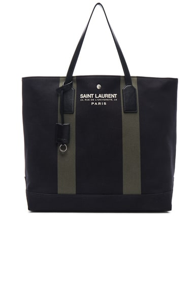 Saint Laurent Beach Shopping Bag in Black & Khaki