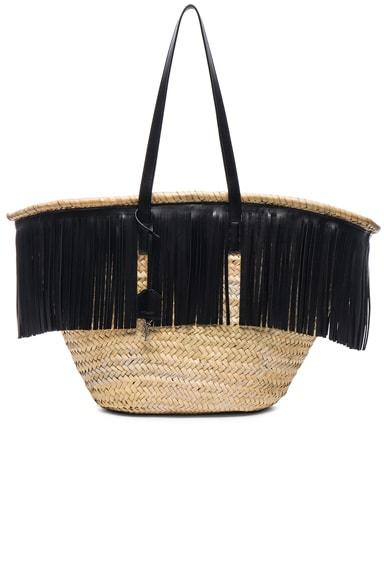 Saint Laurent Panier Large Basket Bag in Natural & Black