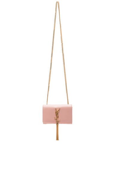 Saint Laurent Small Monogramme Tassel Chain Bag in Pale Blush