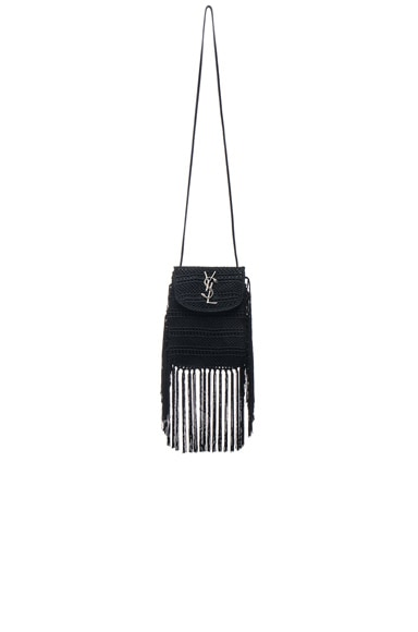 Saint Laurent Anita Crochet Crossbody Bag in Black