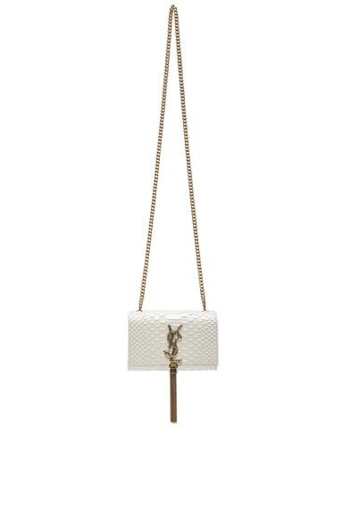 Saint Laurent Small Python Effect Monogramme Chain Bag in White