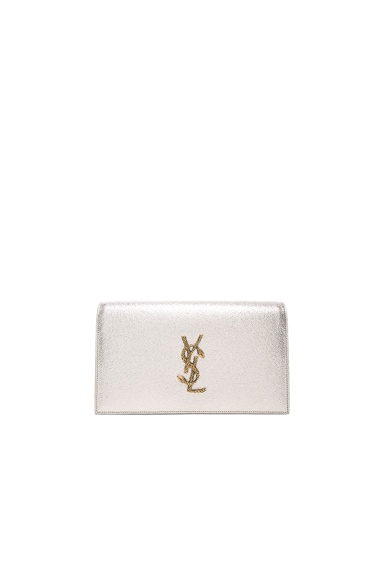 Saint Laurent Monogramme Metallic Serpent Clutch in Pale Gold