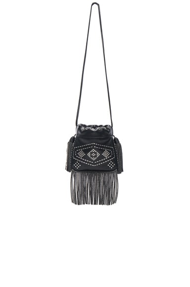 Saint Laurent Helena Inca Stud & Fringe Bag in Black