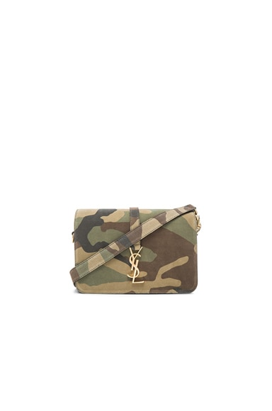 Saint Laurent Medium Suede Monogramme Satchel in Camouflage, Black & Beige