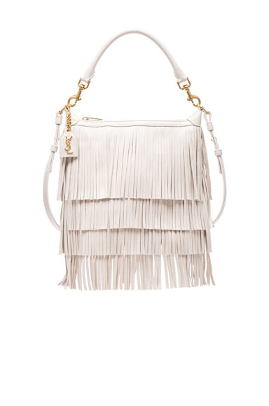 Saint Laurent Small Fringe Emmanuelle Hobo Bag in Porcelain