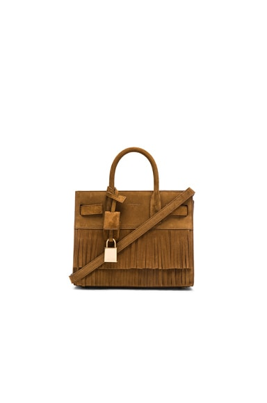 Saint Laurent Nano Suede Fringe Sac De Jour in Light Ocre