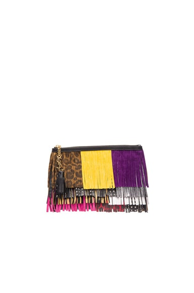 Saint Laurent Fringe Pouch in Black & Multi