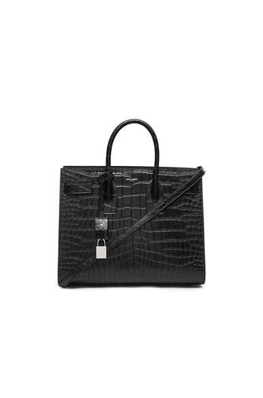 Saint Laurent Small Sac De Jour in Black Croc Effect