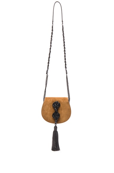 Saint Laurent Small Suede Passementerie Chain Bag in Light Ocre & Black