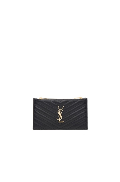 Saint Laurent Double Zip Wallet in Black