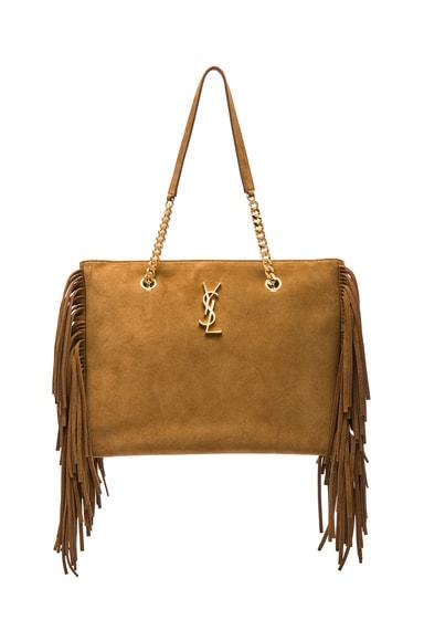 Saint Laurent Large Fringe Monogramme Shopping Bag in Light Ocre