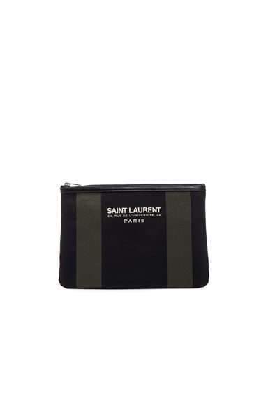 Saint Laurent Beach Pouch in Black & Khaki