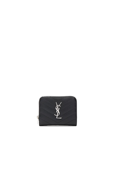 Saint Laurent Monogram Quilted Compact Zip Wallet in Black