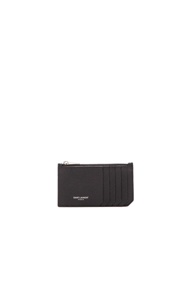 Saint Laurent Saint Laurent Paris Zipped Fragments Credit Card Case in Black