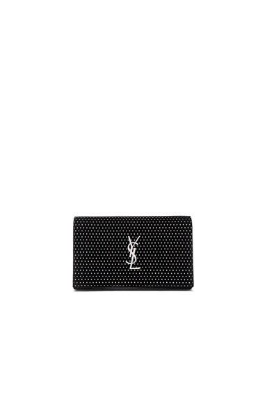 Saint Laurent Monogram Glitter Dot Velour Chain Wallet in Black