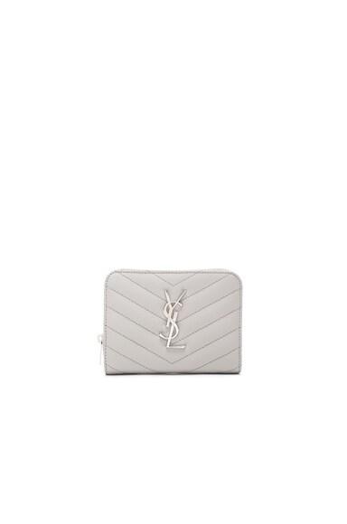 Saint Laurent Monogram Quilted Compact Zip Wallet in Pearl