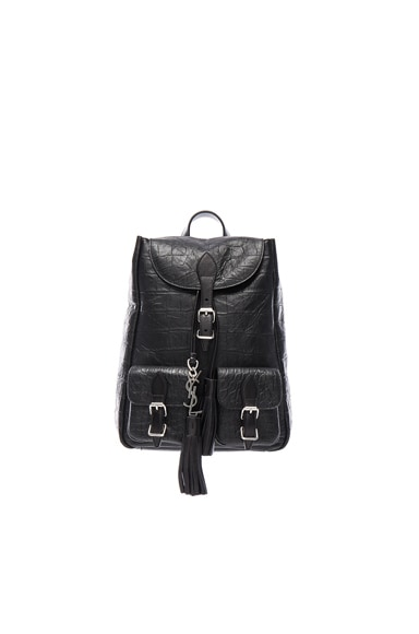 Saint Laurent Small Croc Embossed Festival Backpack in Black