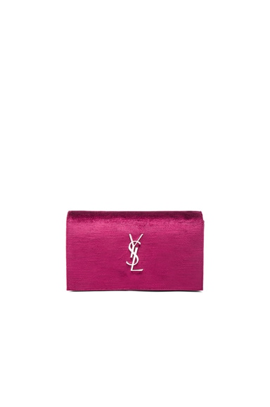 Saint Laurent Monogram Textured Velour Chain Wallet in Black & Rose Wine