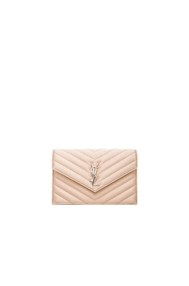 Saint Laurent Monogram Quilted Satin Envelope Chain Wallet in Black & Nude