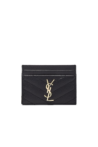 Saint Laurent Monogram Quilted Cardholder in Black