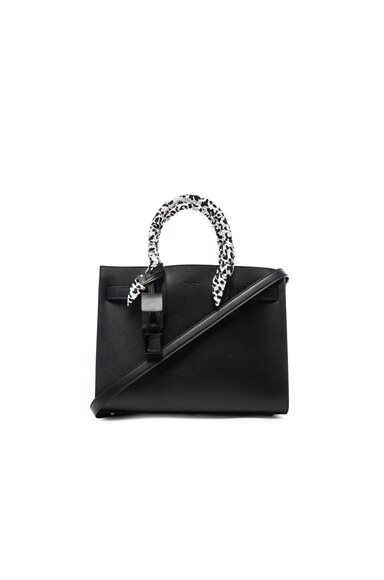 Saint Laurent Baby Babycat Handle Sac De Jour in Black & White