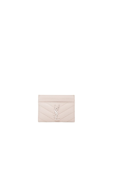 Saint Laurent Monogram Quilted Cardholder in Powder Rose