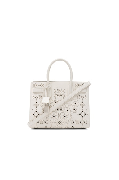 Saint Laurent Baby Bandana Embroidery Sac De Jour Bag in White