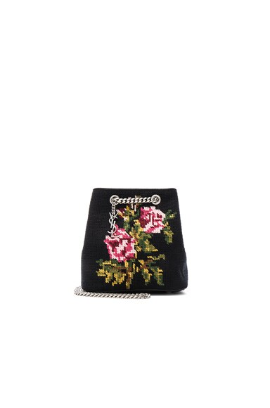 Saint Laurent Baby Floral Embroidery Emmanuelle Bucket Bag in Black & Multi