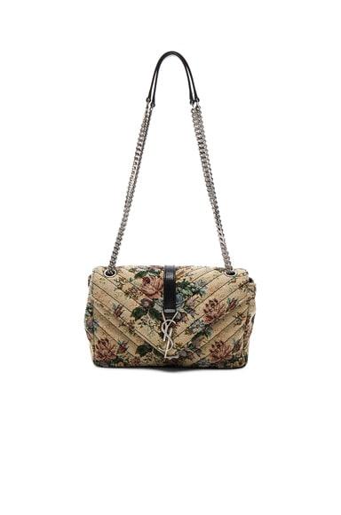 Saint Laurent Medium Floral Tapestry Monogram Chain Bag in Multi