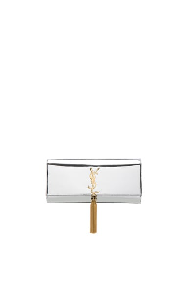 Saint Laurent Mirror Monogram Clutch with Tassel in Platinum