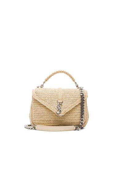 Saint Laurent Medium Raffia Monogram College Bag in Natural